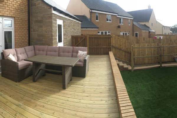 Artificial Grass and Decking Project - Bovey Tracey