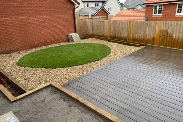 Gravel / Artificial Grass / Decking Project - Ottery St mary